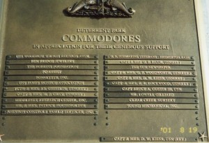 Plaque Showing the USS James Monroe Association's Donation At The Commodore Level