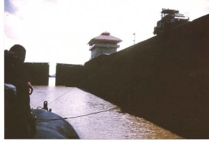 Entering Locks of Panama Canal